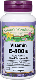 Vitamin E / Mixed Tocopherols - 400 IU, 100 softgels (Nature's Wonderland)