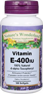 Vitamin E / D-Alpha Tocopheryl - 400 IU, 100 softgels (Nature's Wonderland)