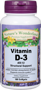 Vitamin D3 - 400 IU, 180 softgels (Vitamin D) (Nature's Wonderland)