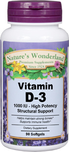 Vitamin D3 - 1000 IU, 90 softgels (Vitamin D) (Nature's Wonderland)