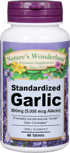 Garlic Standardized, Odor Controlled - 500 mg, 60 Tablets (Nature's Wonderland)