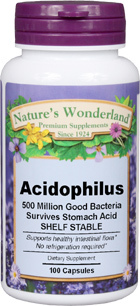 Acidophilus - 500 Million, 100 Capsules (Nature's Wonderland)