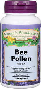 Bee Pollen - 500 mg, 100 capsules (Nature's Wonderland)