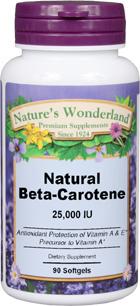 Beta Carotene 25,000 IU - 90 softgels (Nature's Wonderland)