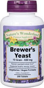 Brewer's Yeast Tablets - 650 mg, 200 vegetarian tablets (Nature's Wonderland)