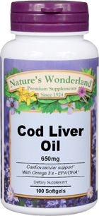 Cod Liver Oil - 650 mg, 100 softgels (Nature's Wonderland)