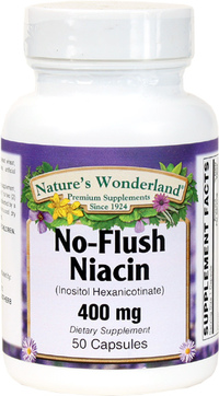 No Flush Niacin- 400 mg, 50 Capsules (Nature's Wonderland)
