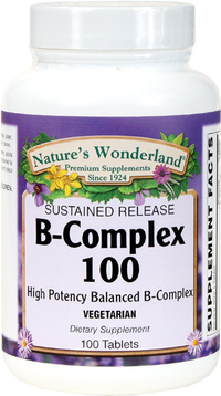 B-100 (B Complex) Sustained Release, 100 Vegetarian Tablets (Nature's Wonderland)