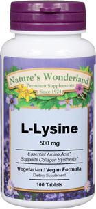 L-Lysine - 500 mg, 100 tablets (Nature's Wonderland)