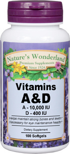 Vitamin A & D, 100 softgels (Nature's Wonderland)