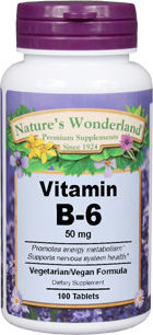 Vitamin B6, 50 mg - 100 tablets (Nature's Wonderland)