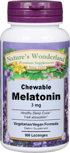 Melatonin - 3 mg, 100 lozenges (Nature's Wonderland)