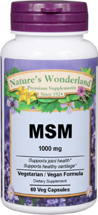 MSM Capsules - 1000 mg, 60 Veg capsules (Nature's Wonderland)