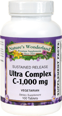 Vitamin C Ultra Complex 1000 mg - Sustained Release, 100 Vegetarian Tablets (Nature's Wonderland)