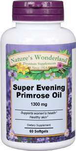 Evening Primrose Oil, Super - 1300 mg, 60 softgels (Nature's Wonderland)