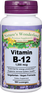 Vitamin B12, 1000 mcg / 1mg - 100 chewable lozenges (Nature's Wonderland)