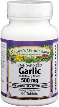 Garlic Standardized - 500 mg, 60 tablets (Nature's Wonderland)