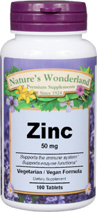 Zinc - 50 mg, 100 tablets (Nature's Wonderland)