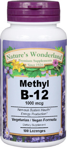 Vitamin B-12 Methylcobalamin - 1,000 mcg / 1 mg, 100 lozenges (Nature's Wonderland)