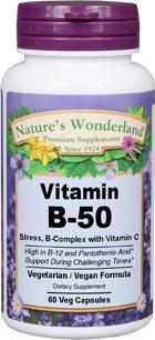 B-50 Stress (B Complex), 60 Veg capsules (Nature's Wonderland)