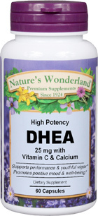 DHEA - 25 mg, 60 capsules (Nature's Wonderland)