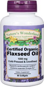 Flax Seed Oil Capsules, Organic - 1000 mg, 90 softgels (Nature's Wonderland)