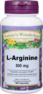 L-Arginine - 500 mg, 100 capsules (Nature's Wonderland)