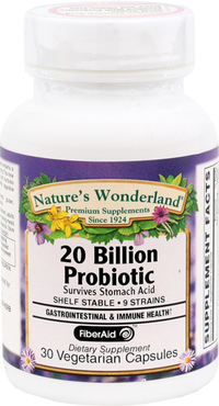 Probiotic - 20 Billion CFU, 30 vegetarian capsules (Nature's Wonderland)