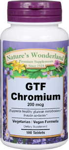 Chromium - 200 mcg, 100 tablets (Nature's Wonderland)