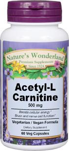 Acetyl-L-Carnitine - 500 mg, 60 Veg capsules (Nature's Wonderland)