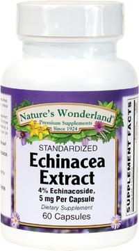 Echinacea Standarized Extract - 5 mg, 60 Capsules (Nature's Wonderland)