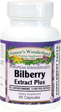 Bilberry Standardized Extract Plus - 60 mg, 60 Capsules (Nature's Wonderland)