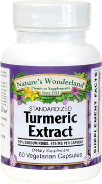 Turmeric Standardized Extract - 475 mg, 60 Vegetarian Capsules (Nature's Wonderland)