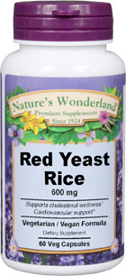 Red Yeast Rice - 600 mg , 60 vegetable capsules (Nature's Wonderland)