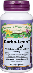 CLEARANCE SALE: Carbo Lean™ White Kidney Bean Extract  - 500 mg, 60 vegetable capsules (Nature's Wonderland)