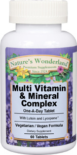 Multi Vitamin & Mineral Complex, 60 tablets (Nature's Wonderland)