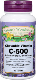 Vitamin C, Chewable - 500 mg, 50 lozenges (Nature's Wonderland)