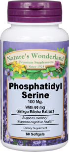 Phosphatidyl Serine / PS - 100 mg, 60 softgels (Nature's Wonderland)