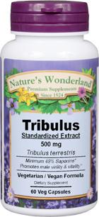 Tribulus Standardized Extract - 500 mg, 60 capsules (Nature's Wonderland)