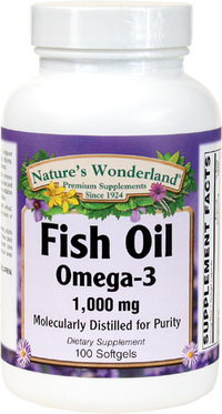 Fish Oil Omega-3 1000 mg, 100 Softgels (Nature's Wonderland)