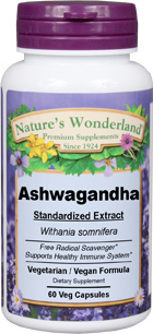 Ashwagandha Standardized Extract - 500 mg, 60 Veg Capsules (Withania somnifera)