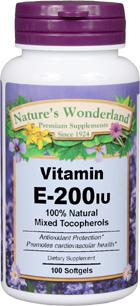 Vitamin E / Mixed Tocopherols - 200 IU, 100 softgels (Nature's Wonderland)
