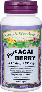 Acai Berry Extract (Açaí) - 650 mg, 60 Vcaps™ (Nature's Wonderland)