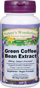 Green Coffee Bean Extract - 400 mg, 60 Veg capsules (Nature' Wonderland)